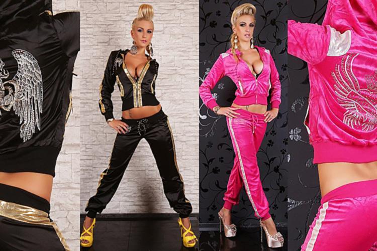 Велюровые костюмы со стразами - непременный атрибут гардероба