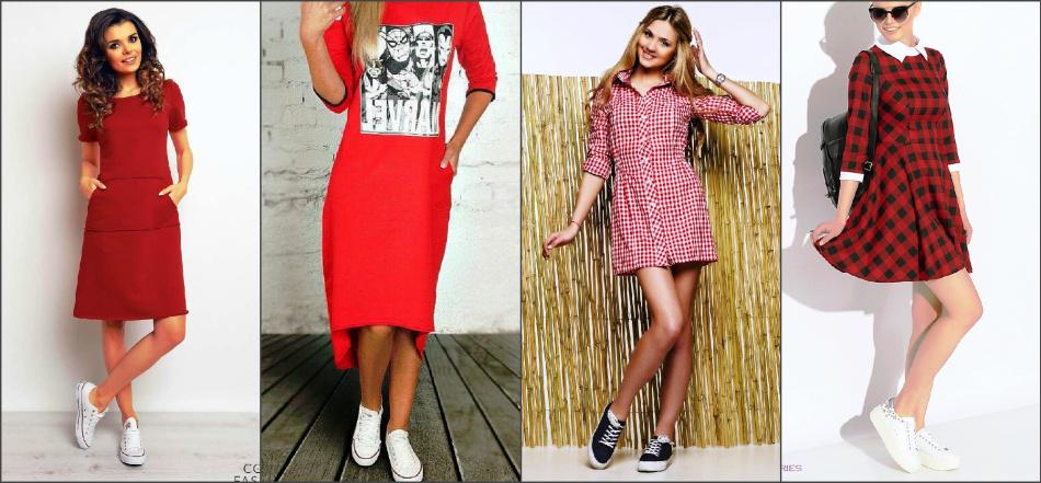 Картинки по запросу красное платье и кроссовки
