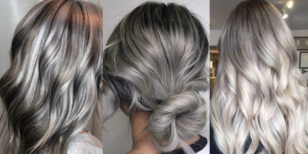 Модные цвета волос 2019года: серебро и пепел