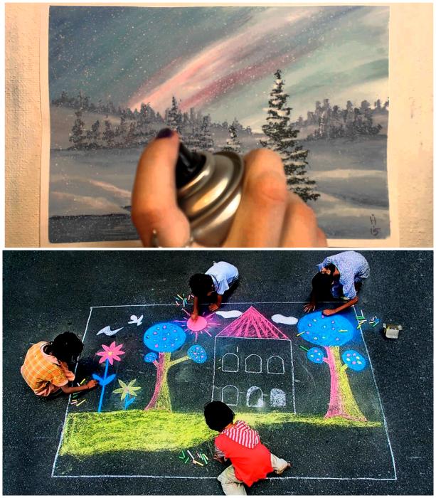 Закрепить и придать цвета рисункам.