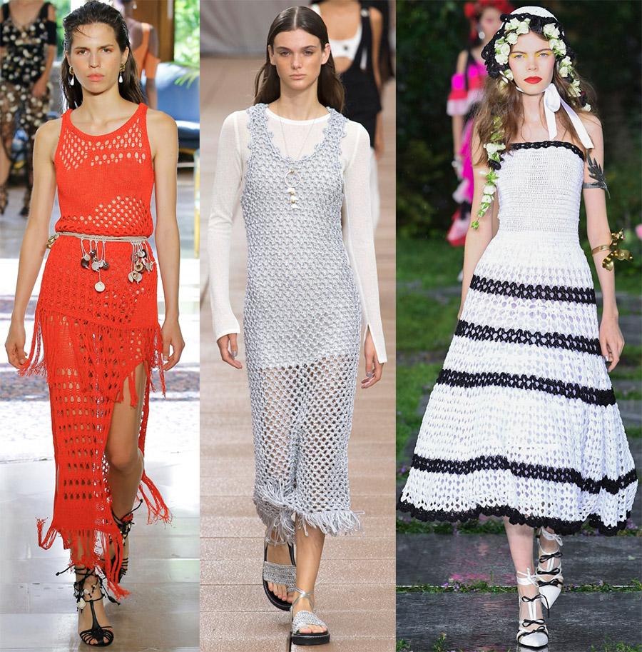 Вязаные платья весна-лето